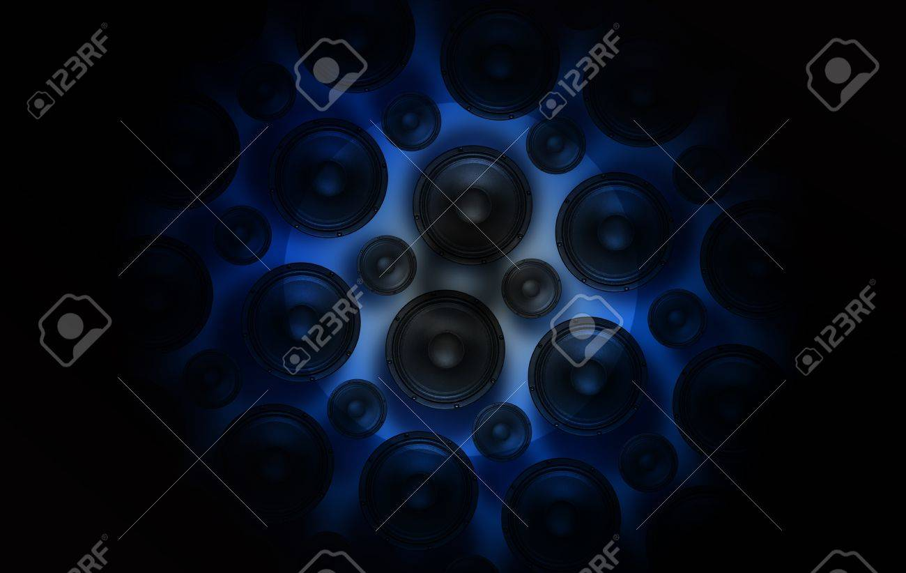 Speakers Spot  Blue Light Spot on Speakers  Sound and Music Theme Stock Photo - 13238708