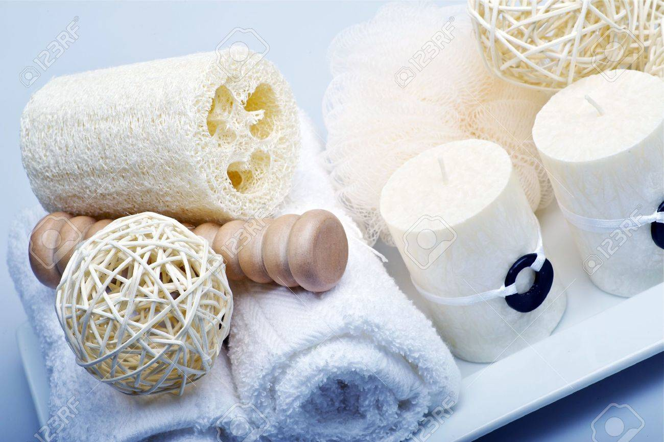 Bath-Spa Theme - Bathroom Kit. Towels, Sponges And Candles. Stock ...