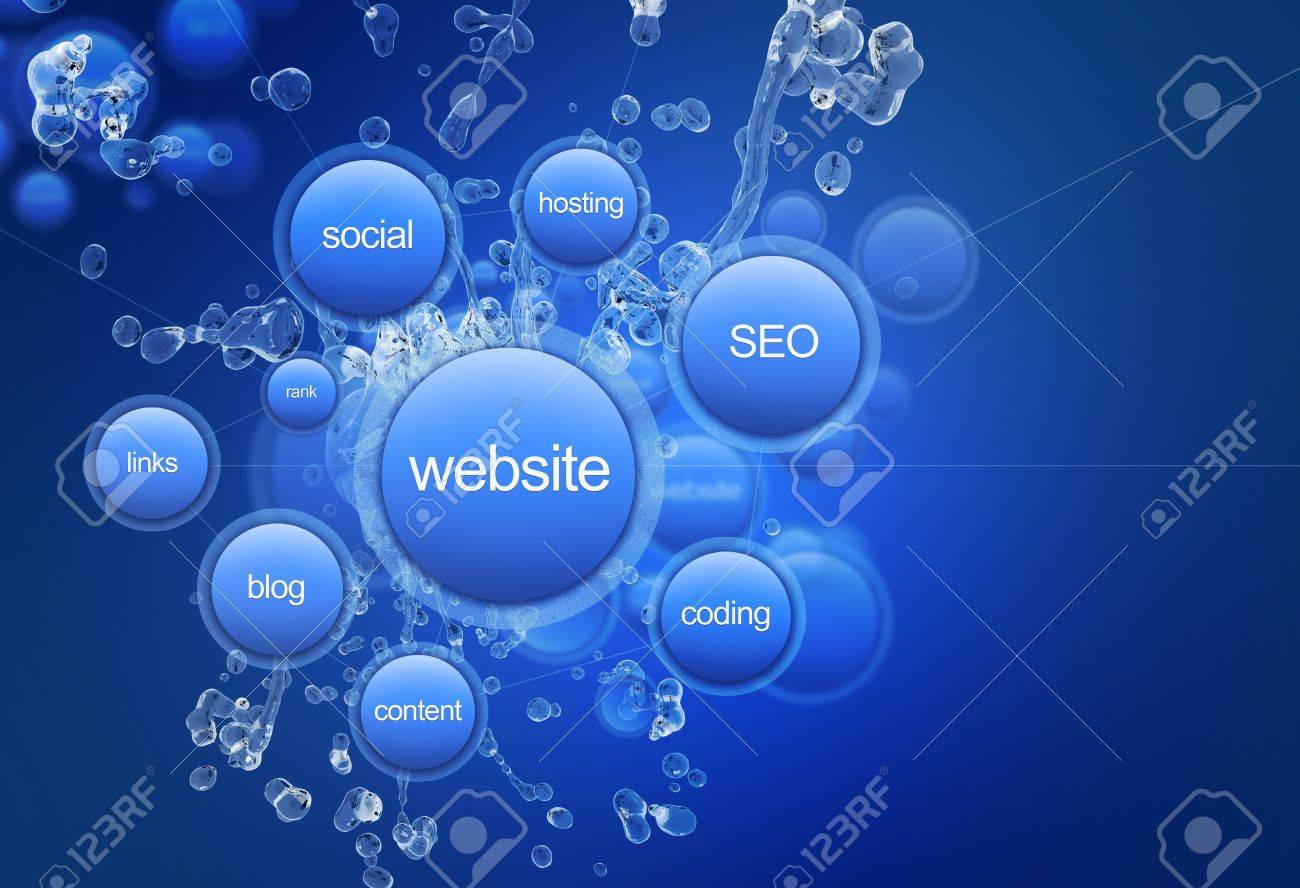 Website Project - Cool Blue Website Project Illustration. Web Technology Illustrations Collection. Blue Bubbles: Website, Social, Hosting, SEO, Links, Coding, Blog and Content Stock Illustration - 14701177