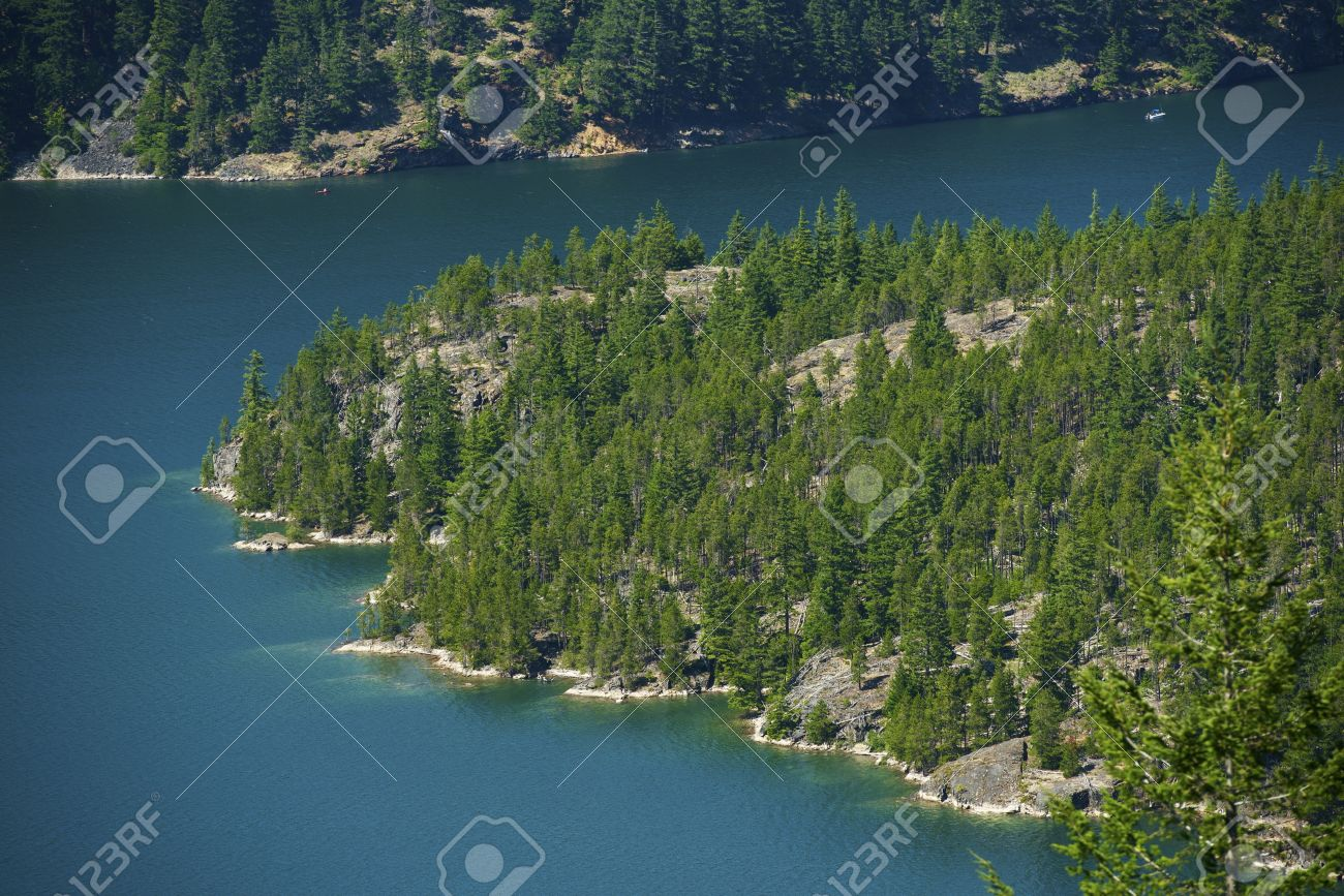 Diablo Lake Reservoir in Northern Cascades. Washington State USA. Recreation Photo Collection. Lake Diablo Aerial Photography Stock Photo - 15544059