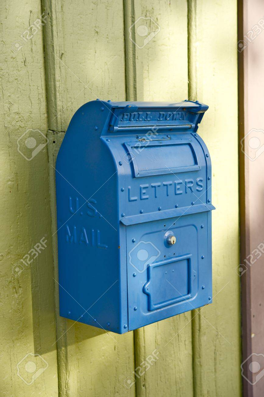 Blue Vintage U.S. Mailbox On The Wall. Postal Letters Box Stock ...
