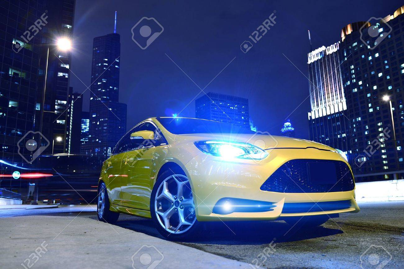 Performance Yellow Car In Downtown Chicago Fast And Furious Stock Photo Picture And Royalty Free Image Image 19642278