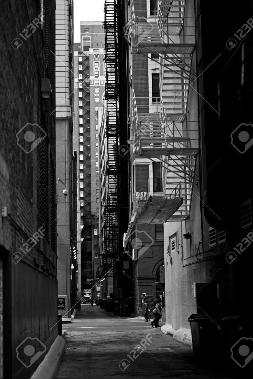 Chicago downtown alley in black and white vertical photography
