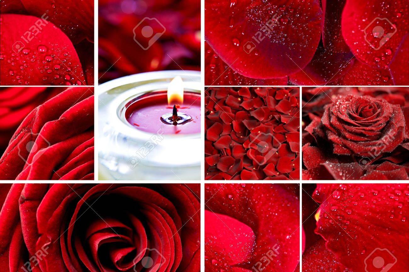 Mosaico Red Roses Póster Rosas Pétalos De Rosas Rojas Y Velas Rose Hermosa Decoración Del Hogar Perfect Como Impresión De La Pared Flores