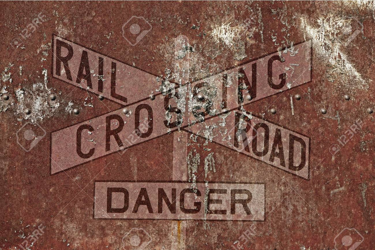 Vintage Railroad Background  Aged and Rusty Railroad Crossing
