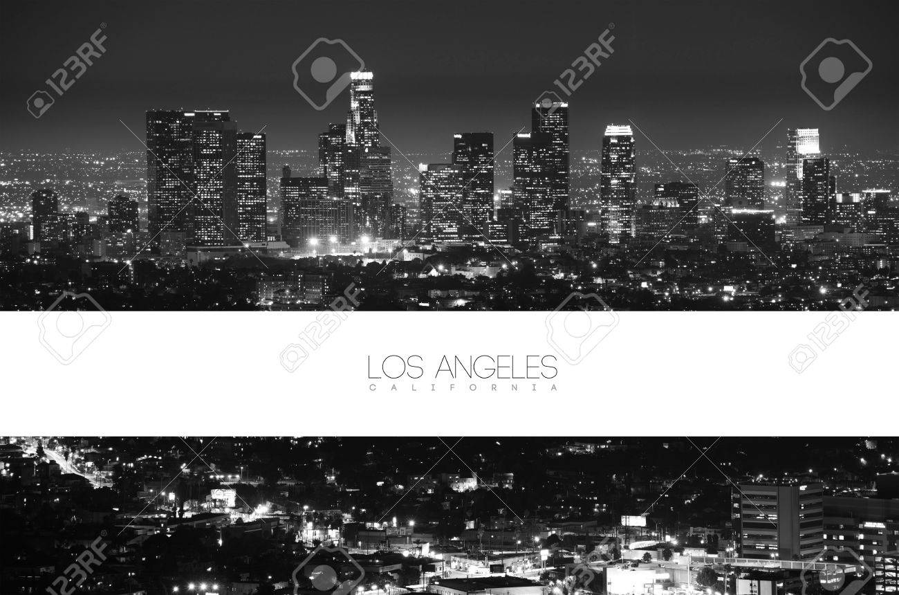 Los Angeles Black and White at Night - Panorama Postcard Design. California Collection. Stock Photo - 21293746