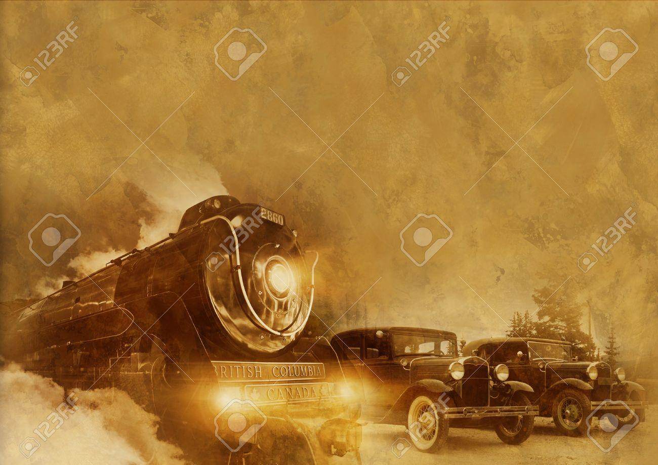 Back Time Journey Vintage Transportation Background With Vintage