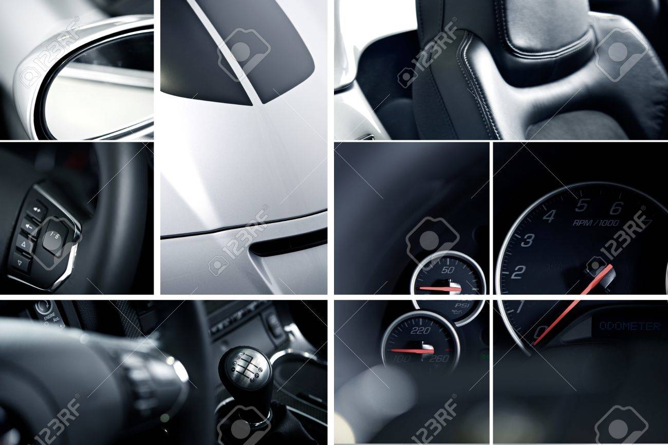 coches modernos mosaico collage estudio de fotografa los detalles de los coches exticos