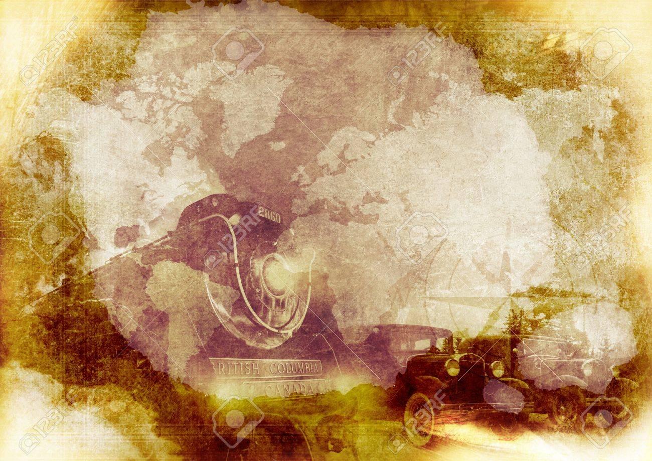 Grungy Vintage Transportation Background With Steam Locomotive