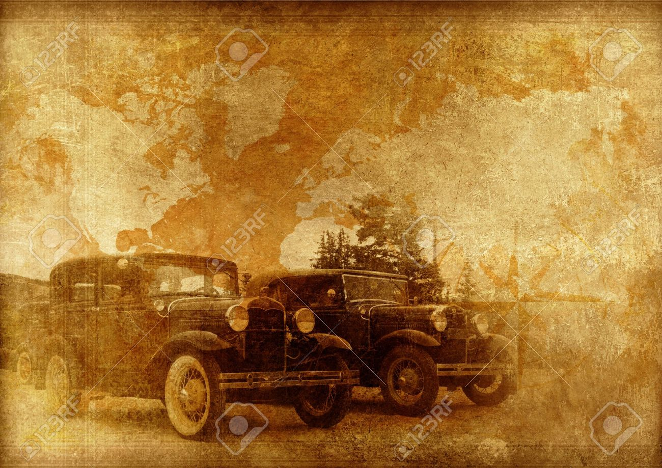 Classic Cars Background. Oldtimers World. Vintage Cars On A Vintage ...