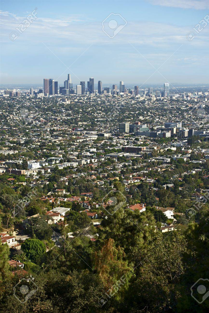 Los Angeles Panorama in Vertical Photography. American Cities Photo Collection. Stock Photo - 22452142