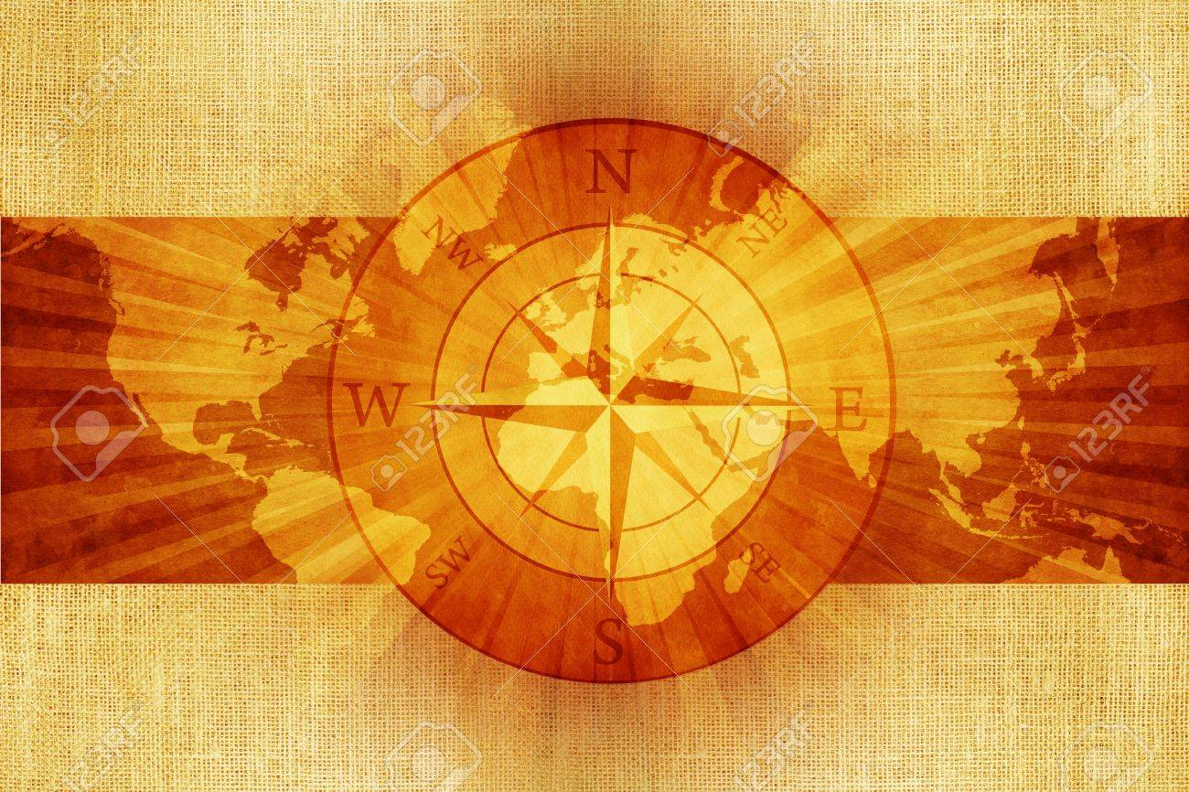 Old Vintage World Map With Compass Rose On Canvas Abstract