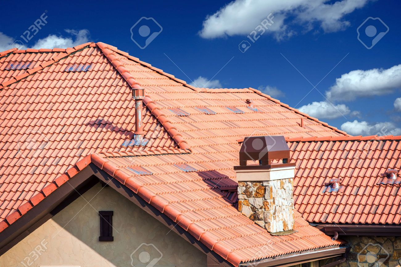 House Slates Roof. Roofing Works. Modern House Roof Closeup. Stock Photo    30350544