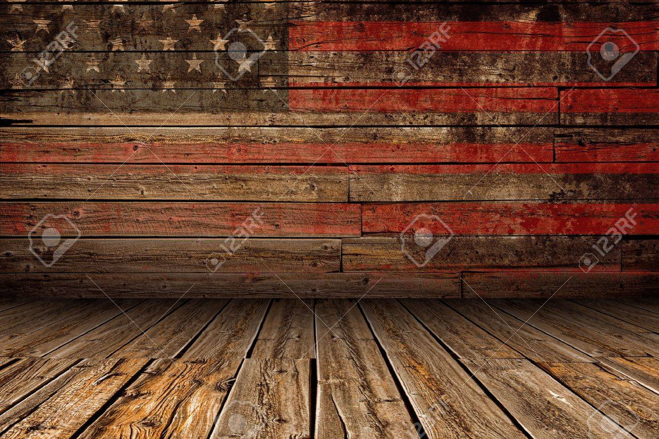 Wooden American Vintage Stage Background With Painted Stock