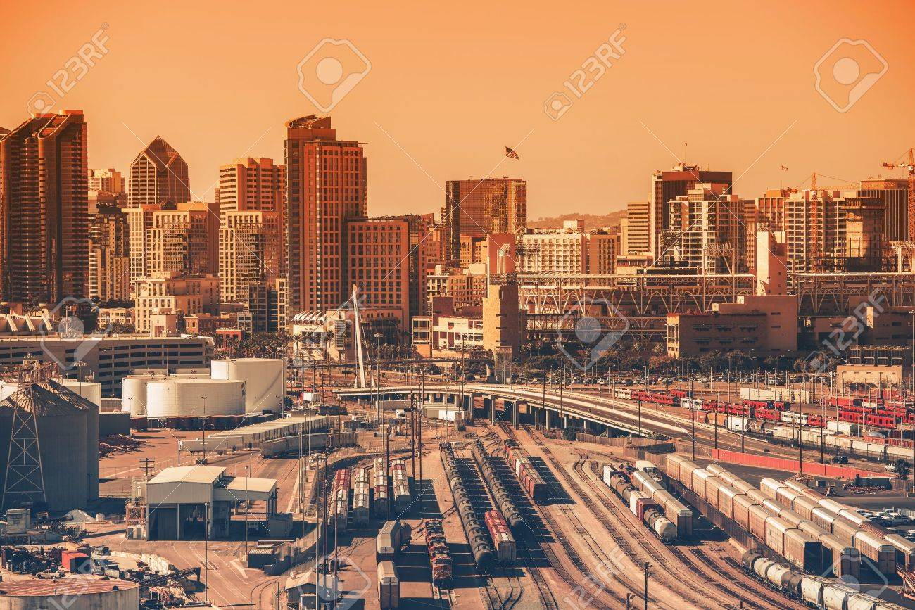 Th the largest city in california - Downtown San Diego California Usa Downtown Area With Railroad Hub Southern California