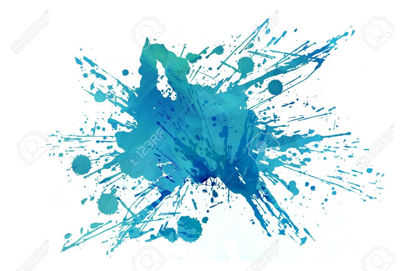 abstracto fresco del aqua splash aislado en el fondo blanco azul