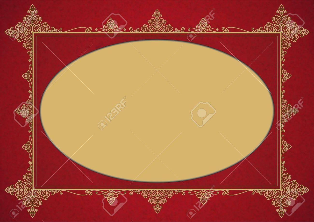 2482ef61dcd4 Elegant Burgundy Golden Vintage Style Framework with Ellipse Copy Space.  Stock Photo - 42086856