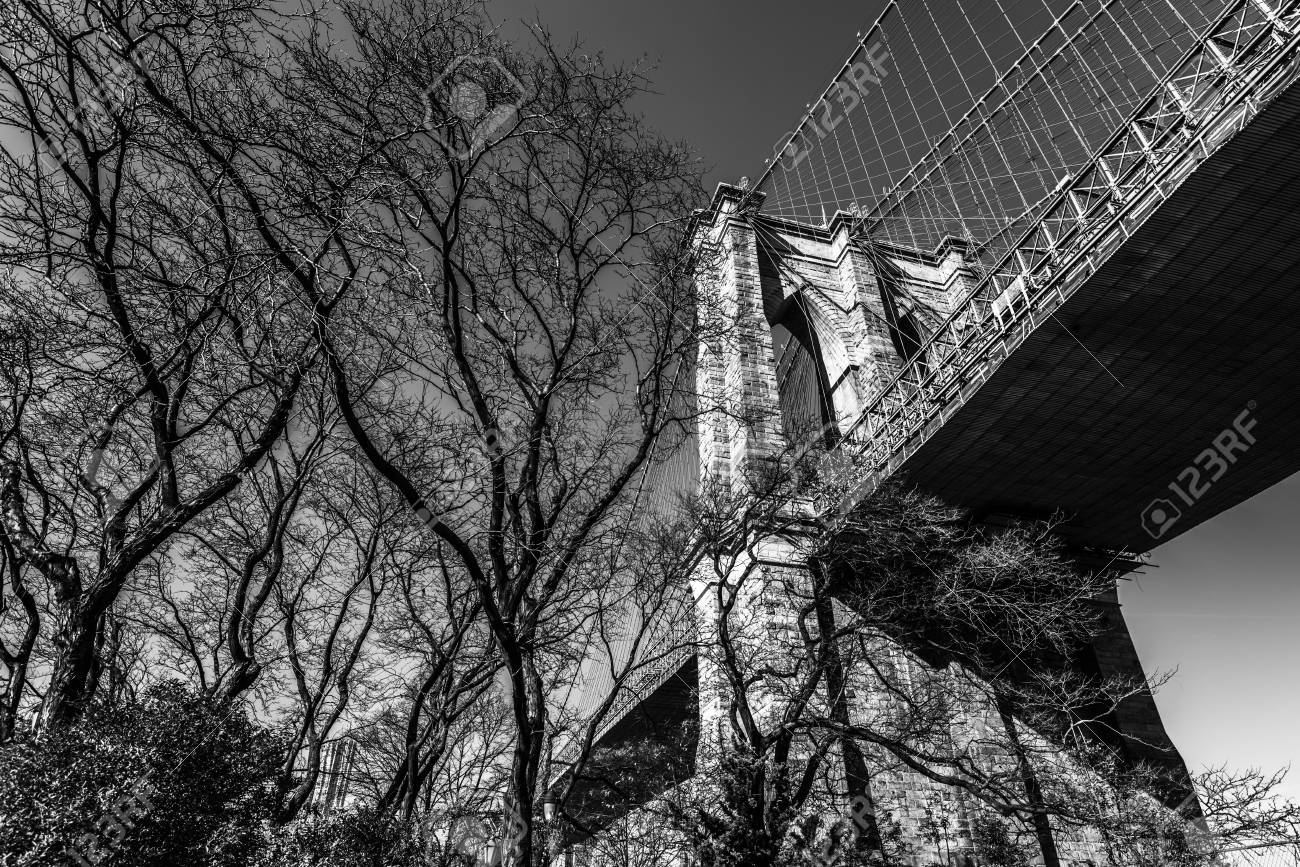 Brooklyn Bridge In Black And White Bridge Closeup New York Stock