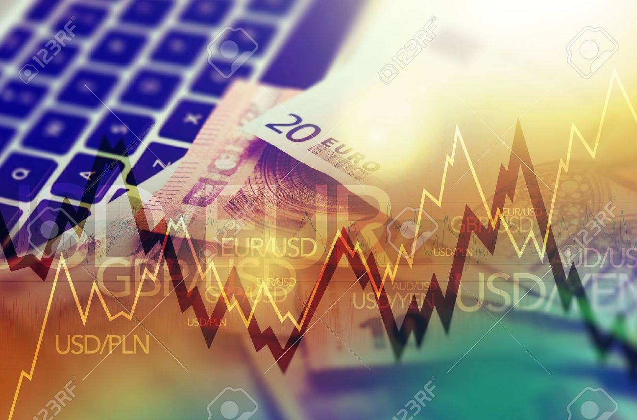 Trading Markets. Forex Currency Trading Concept with Computer, Cash Euro Money and Some Line Graph Statistics. - 50695639