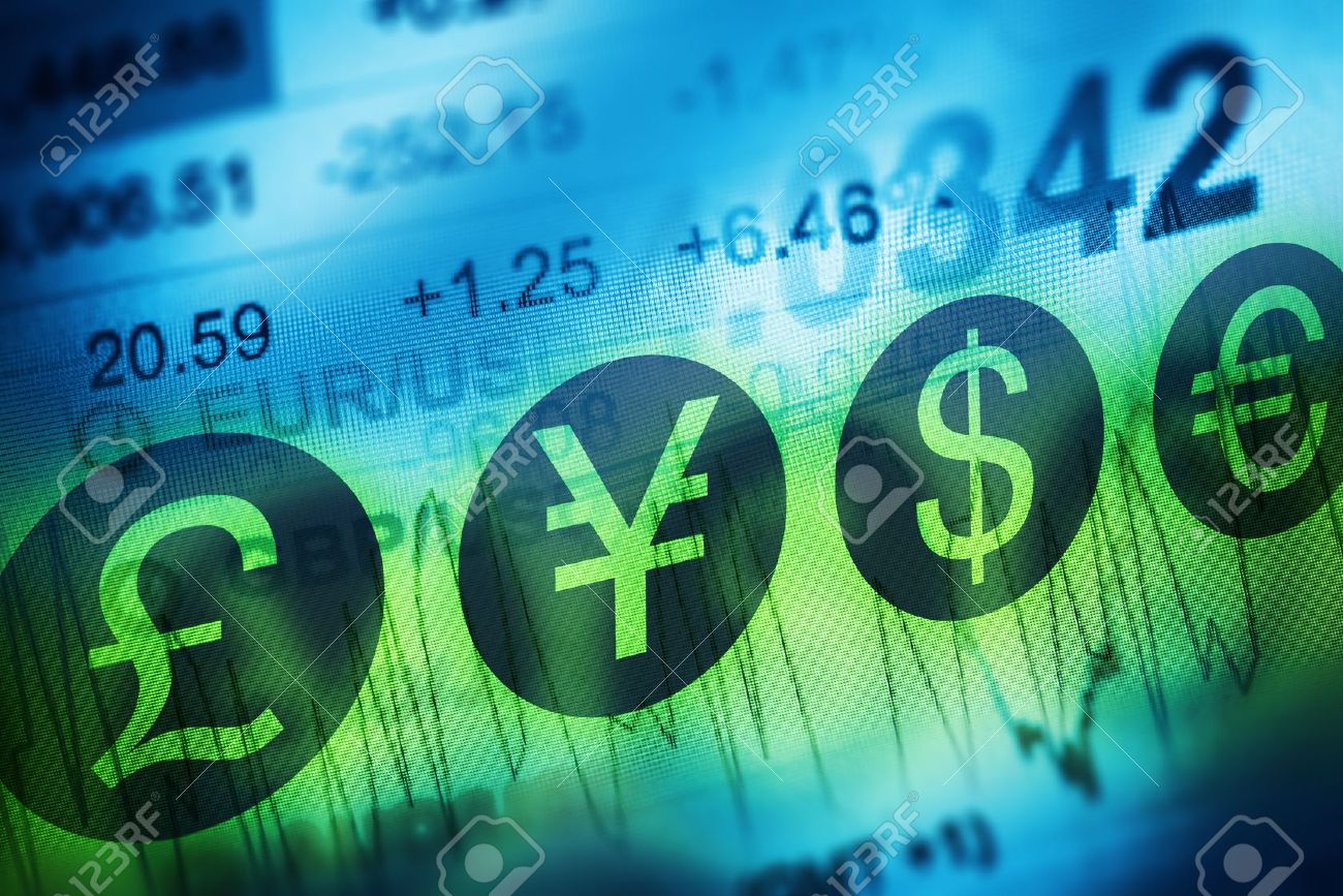 Forex Currency Trading Concept. Financial Markets and Global Economy Concept. United Kingdon Pund, European Euro, American Dollar and Japanese Yen Currency - 50695623