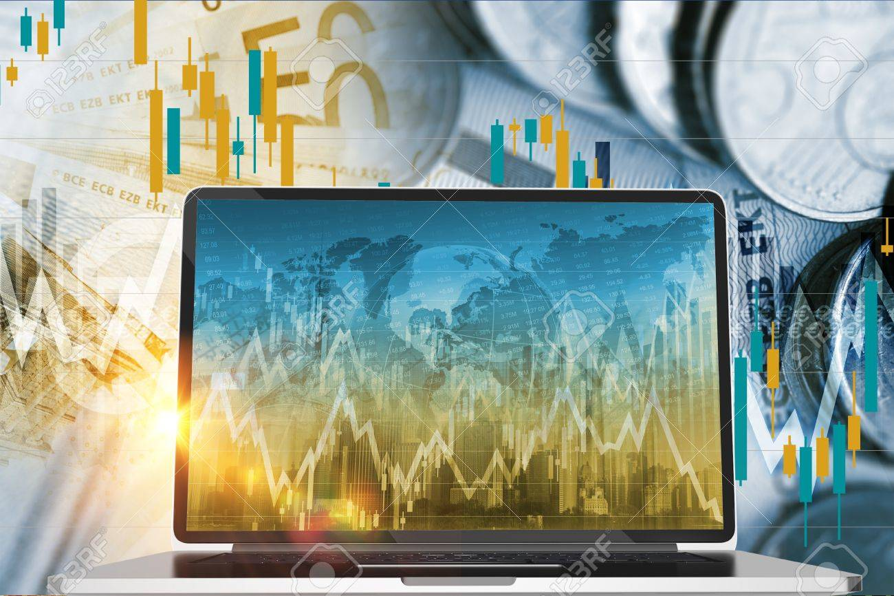 Forex And Stock Exchange Investing Concept With Laptop Computer ...