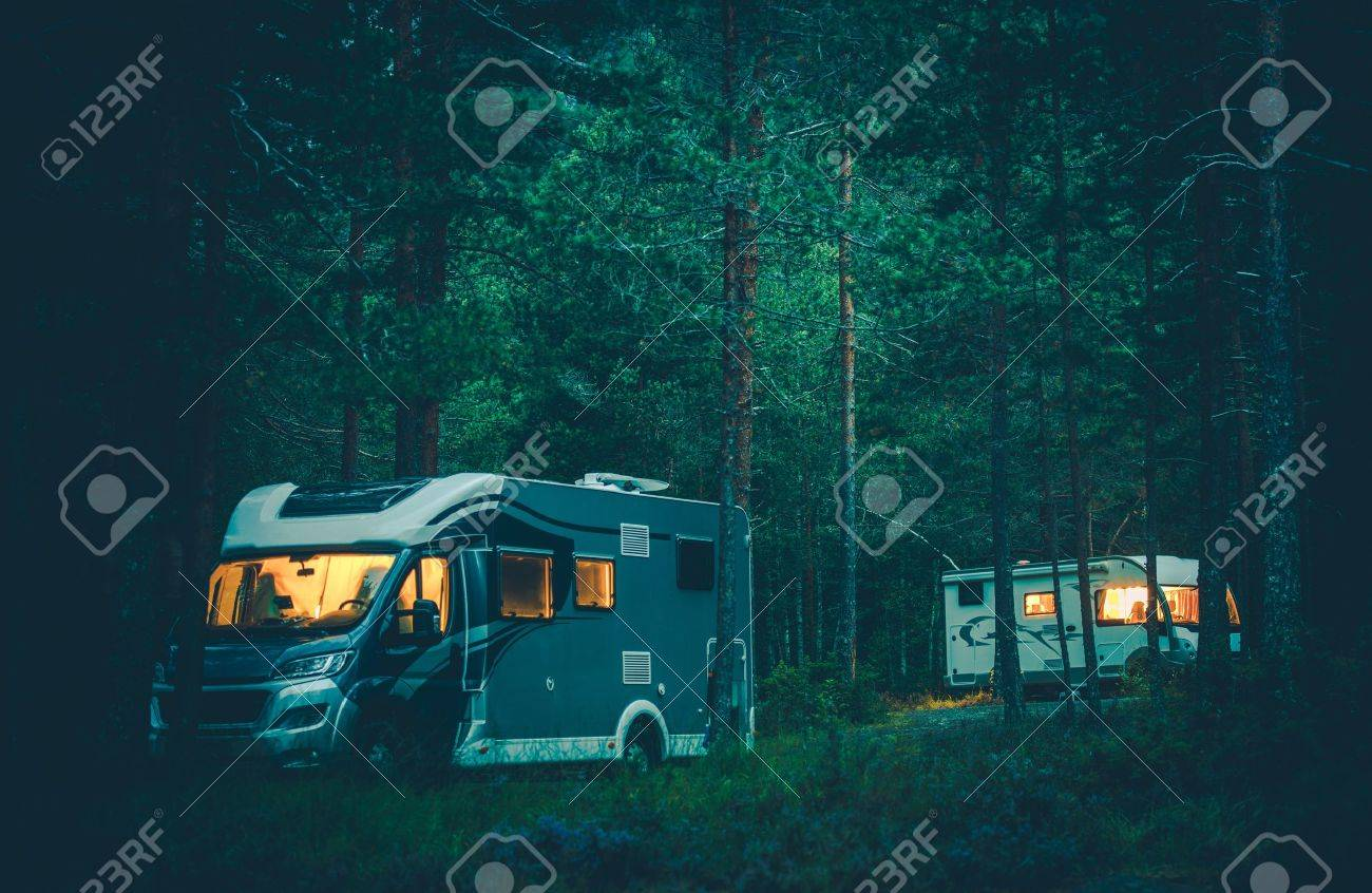 Motorhomes Camping In A Wild RV Boondocking The Forest At Night Traveling