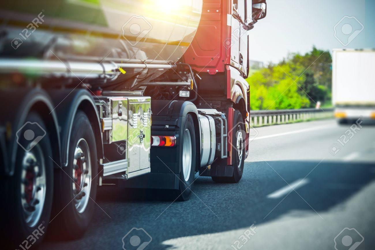 Euro Semi Truck on the Highway. Semi Truck Heavy Duty Transportation - 62488482