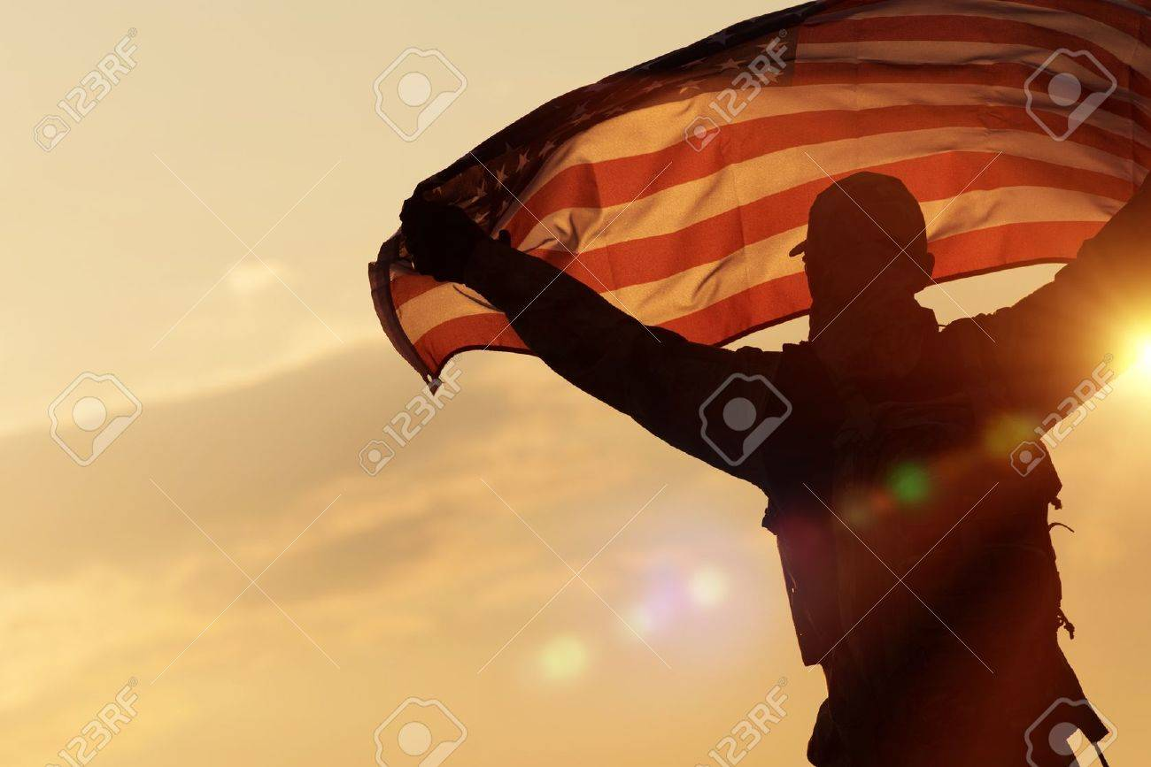 american flag celebration navy soldier with united states of