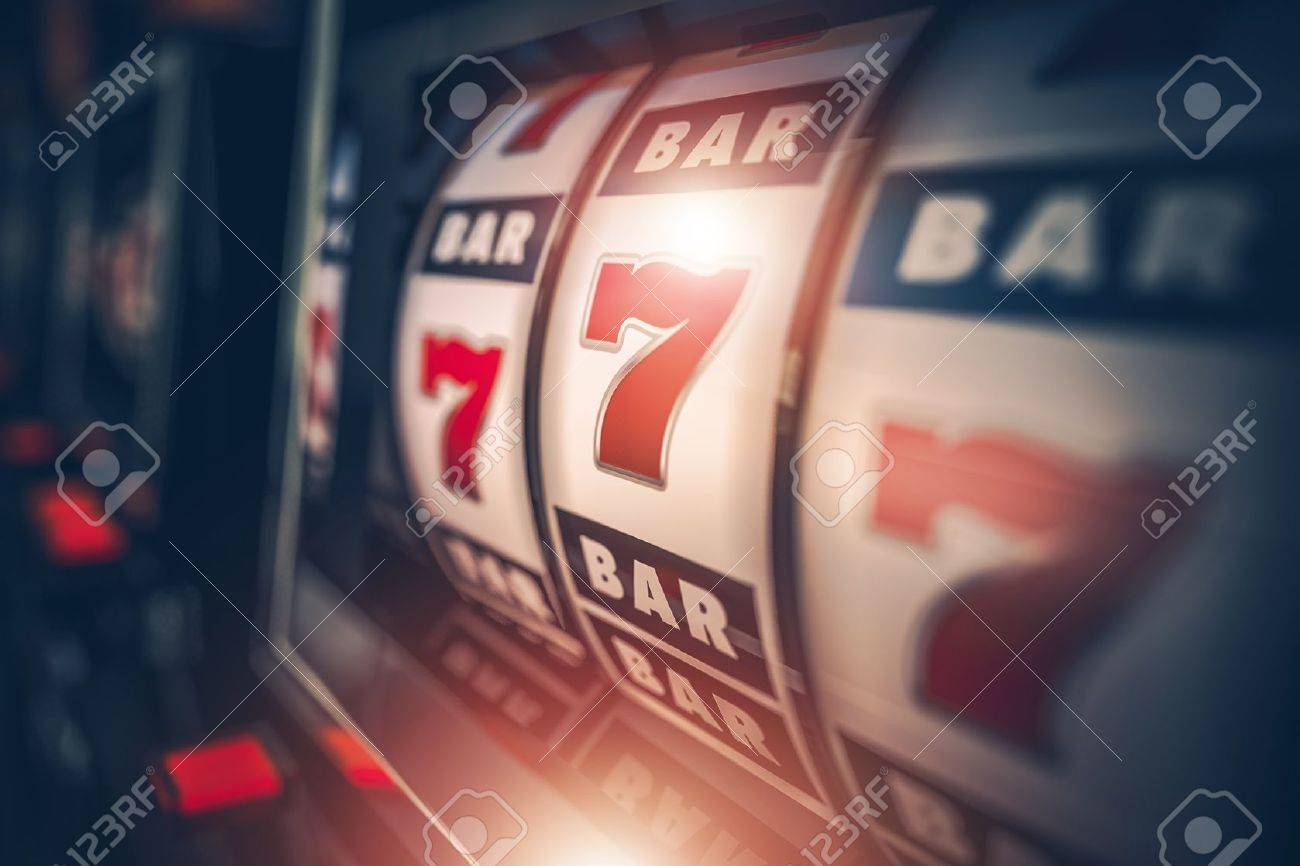 Casino Slot Games Playing Concept 3D Illustration. One Armed Bandit Slot Machine Closeup. - 68876894