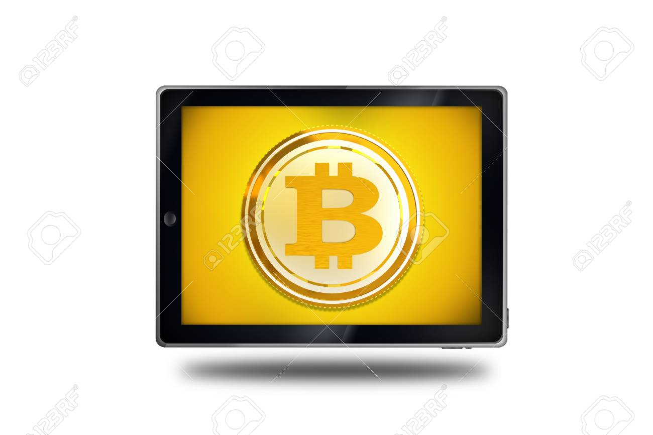 Mobile bitcoin trading cryptocurrency bitcoin symbol on a tablet mobile bitcoin trading cryptocurrency bitcoin symbol on a tablet device conceptual illustration with 3d buycottarizona Choice Image