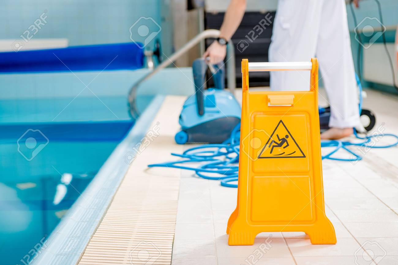 Swimming Pool Cleaning Time Watch For Slippery Tile Floor Yellow - Tile floor slippery after cleaning