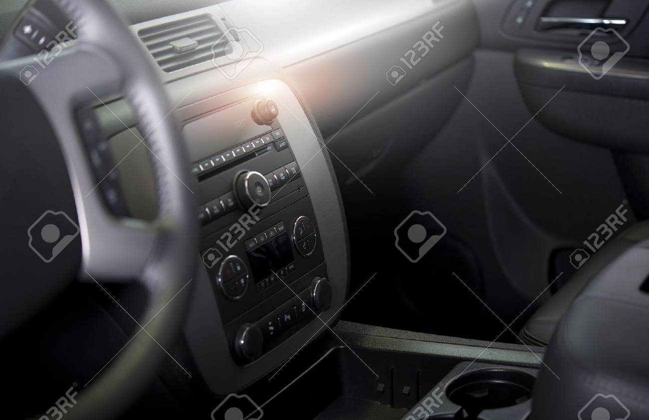 Clean Modern Car Interior. Car Wash And Vehicle Interior Cleaning And  Detailing Photo Concept Stock