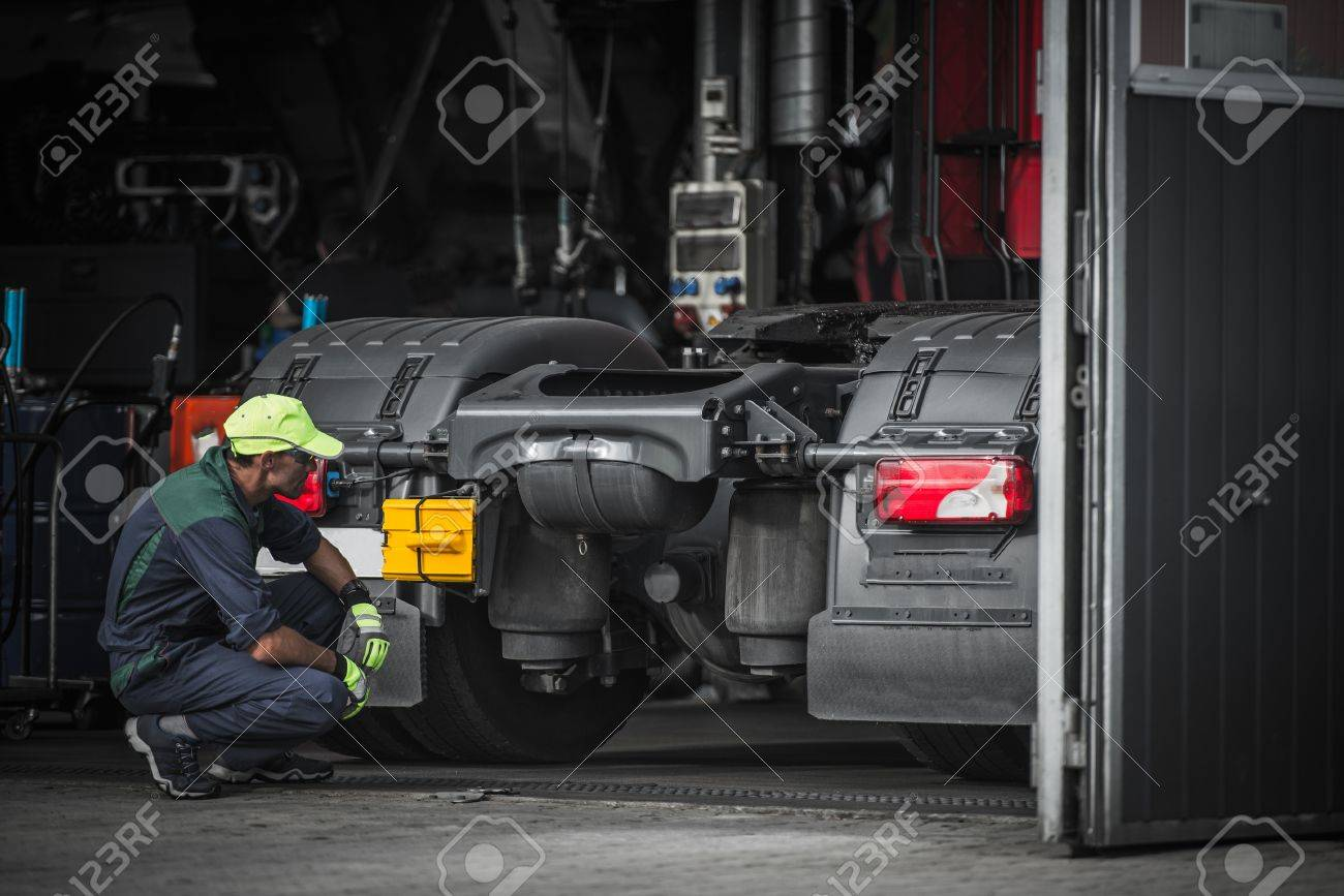 Truck Service Technician Job Caucasian Truck Mechanic Checking