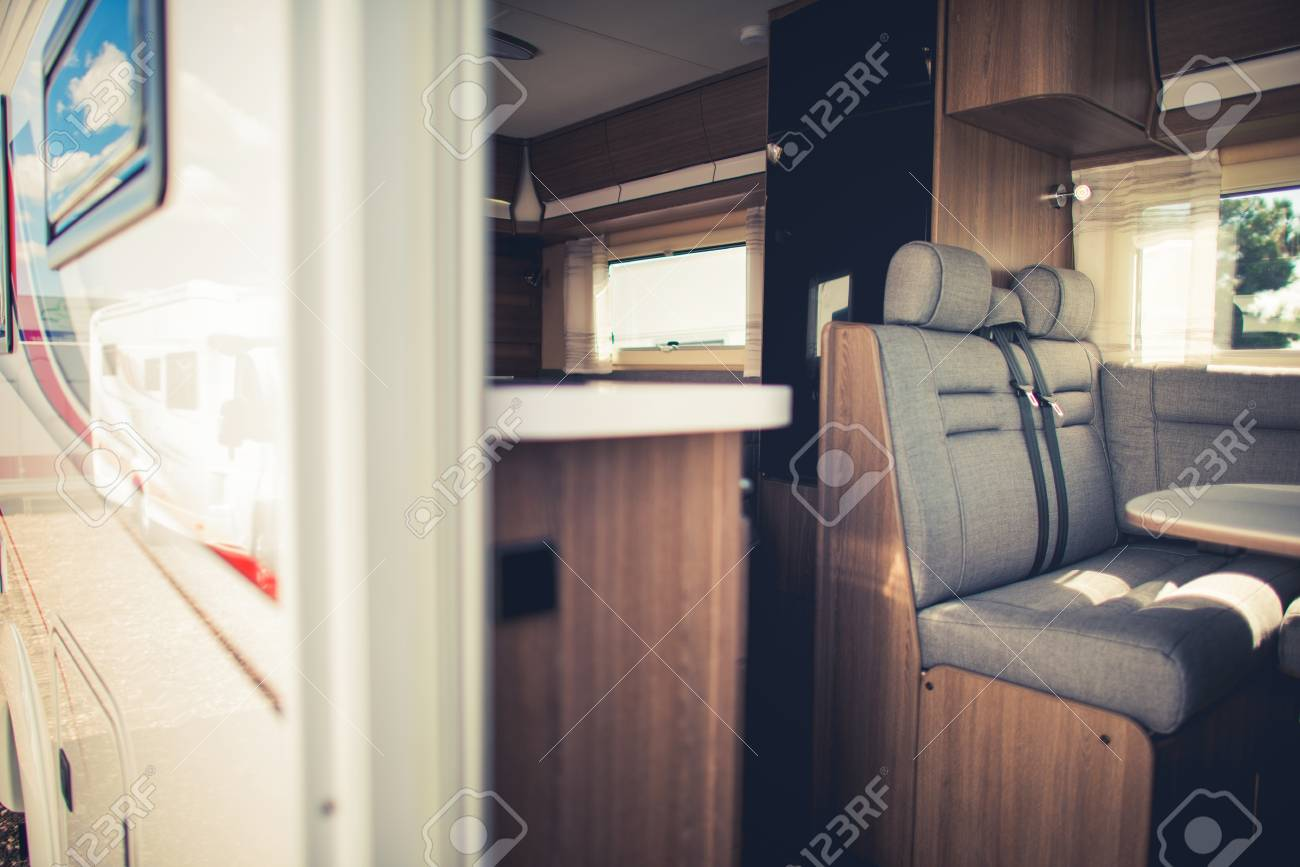 Modern Camper Van Interior RV Traveling Concept Stock Photo