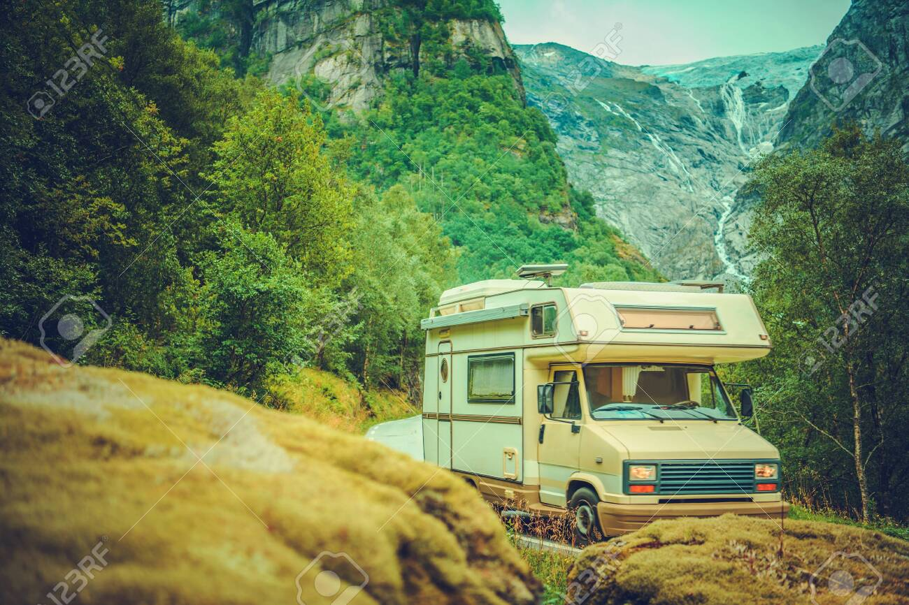Camper Van Road Trip  Small Motorhome Class C on the Mountain