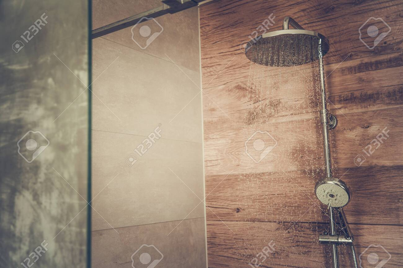 Modern Bathroom Shower Cabin With Wooden Like Ceramic Tiles And Stock Photo Picture And Royalty Free Image Image 121785730
