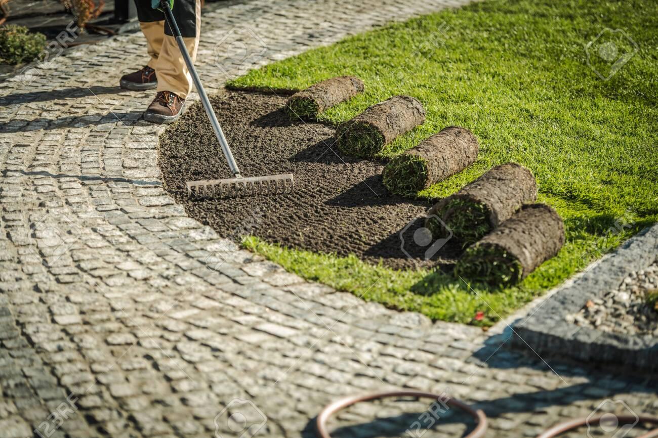 Newly Developed Garden Grass Turfs Installation> Landscaping Industry Theme. - 133016876