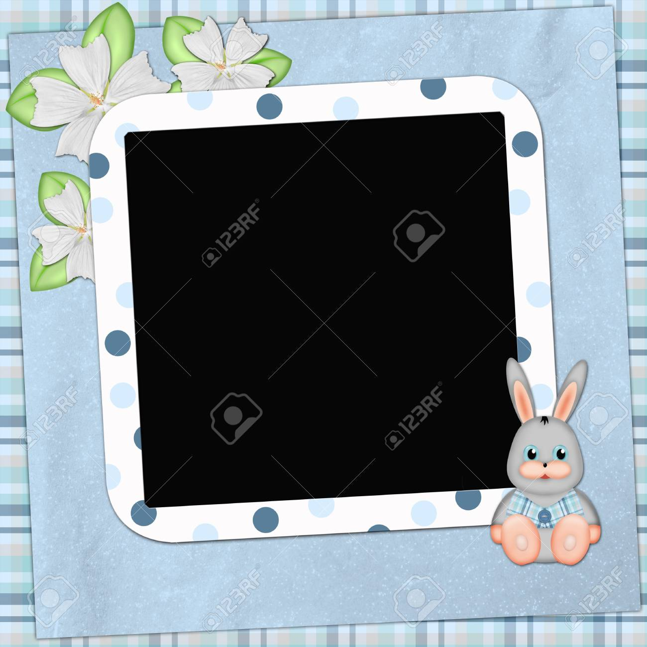 Framework for photo or congratulation with bunny Stock Photo - 6423431