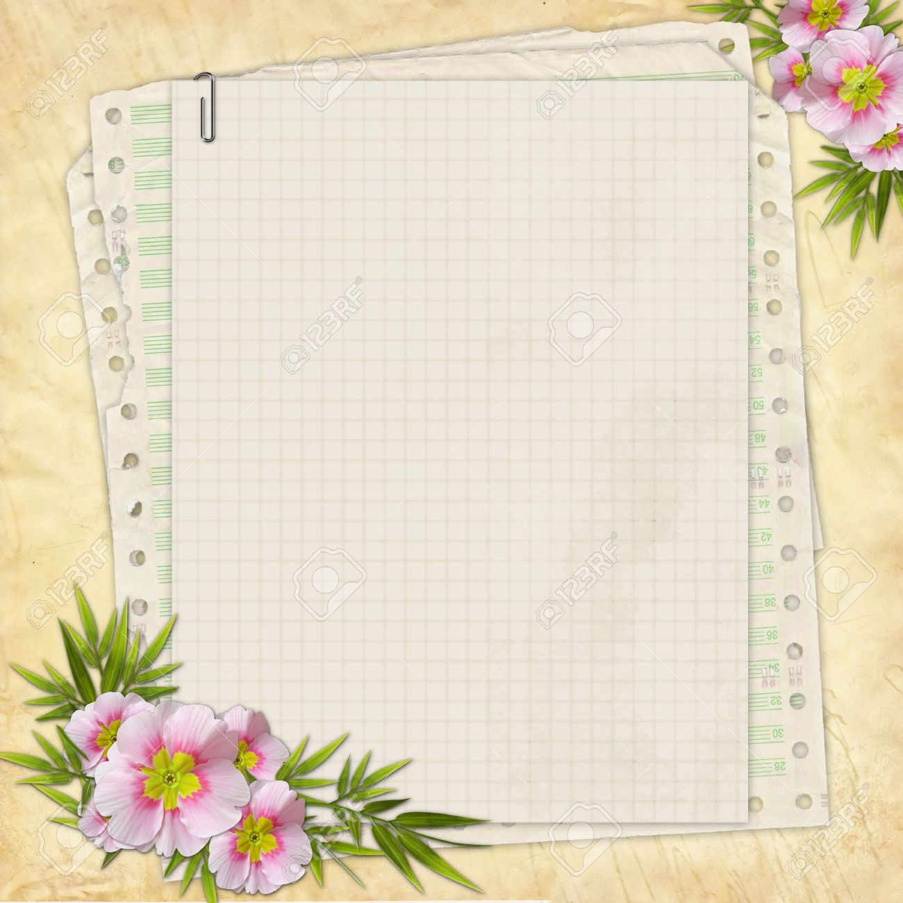 Scrapbook paper designs - Grunge Paper Design For Information In Scrapbooking Style Stock Photo 6606242