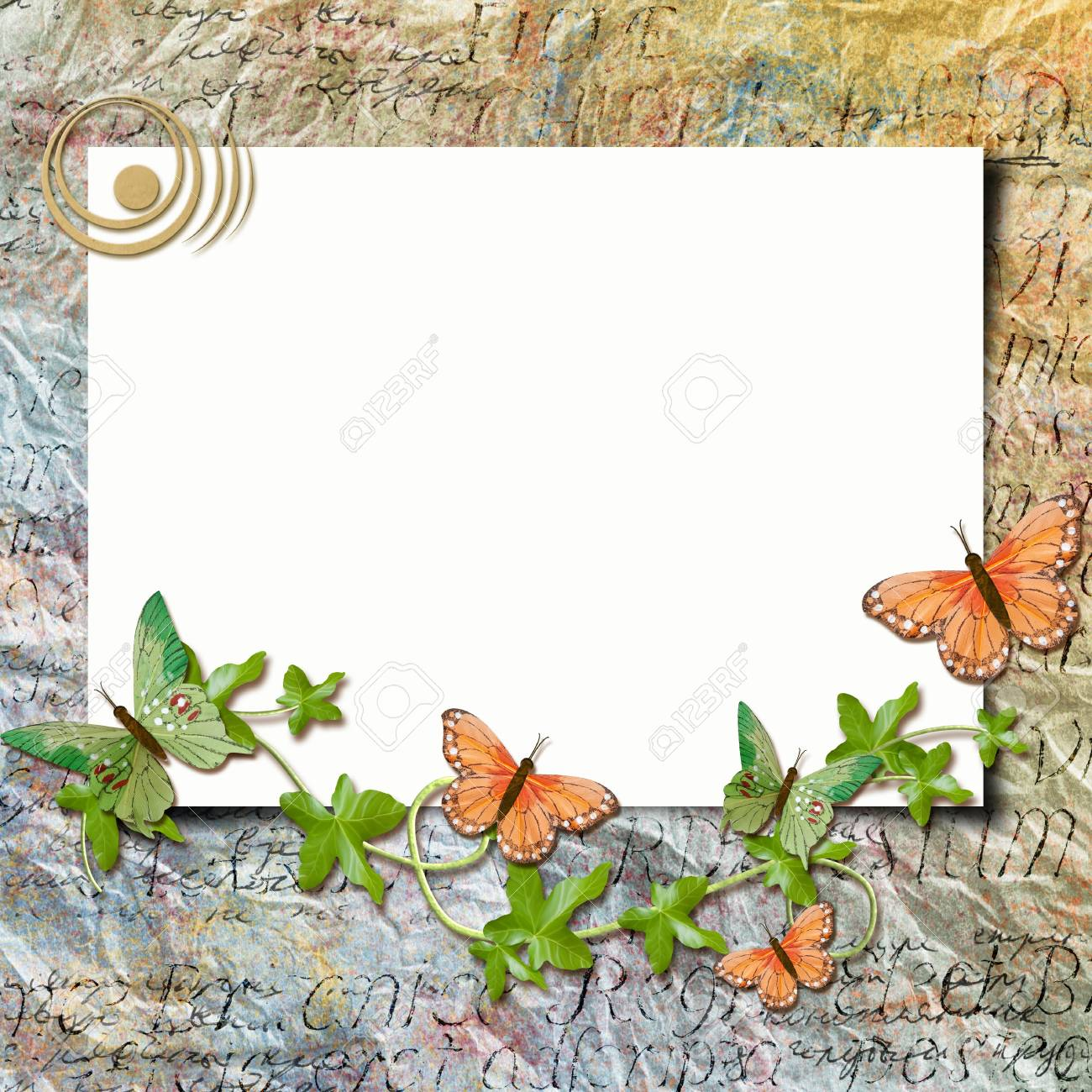 Grunge paper design for information in scrap-booking style Stock Photo - 13110094