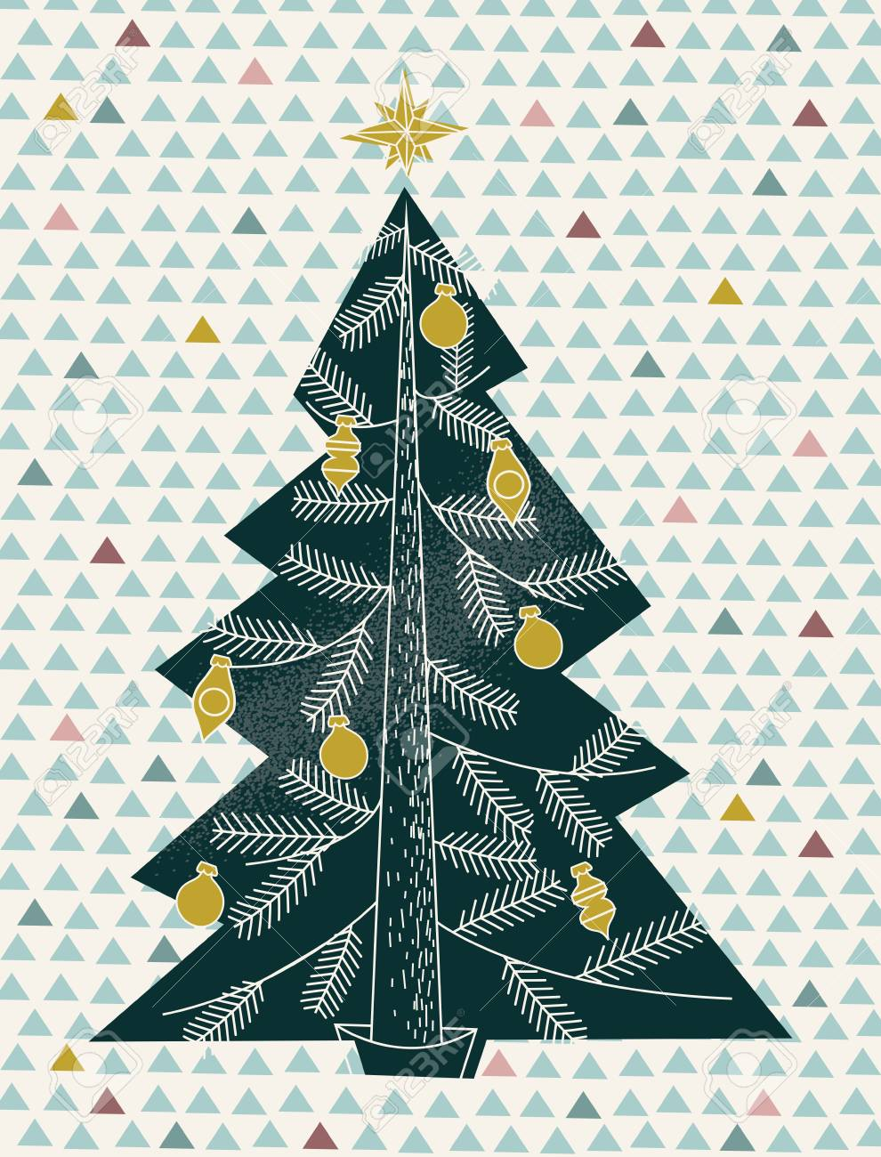 A Retro Modern Illustration Of A Christmas Tree In The Style Royalty Free Cliparts Vectors And Stock Illustration Image 127395557