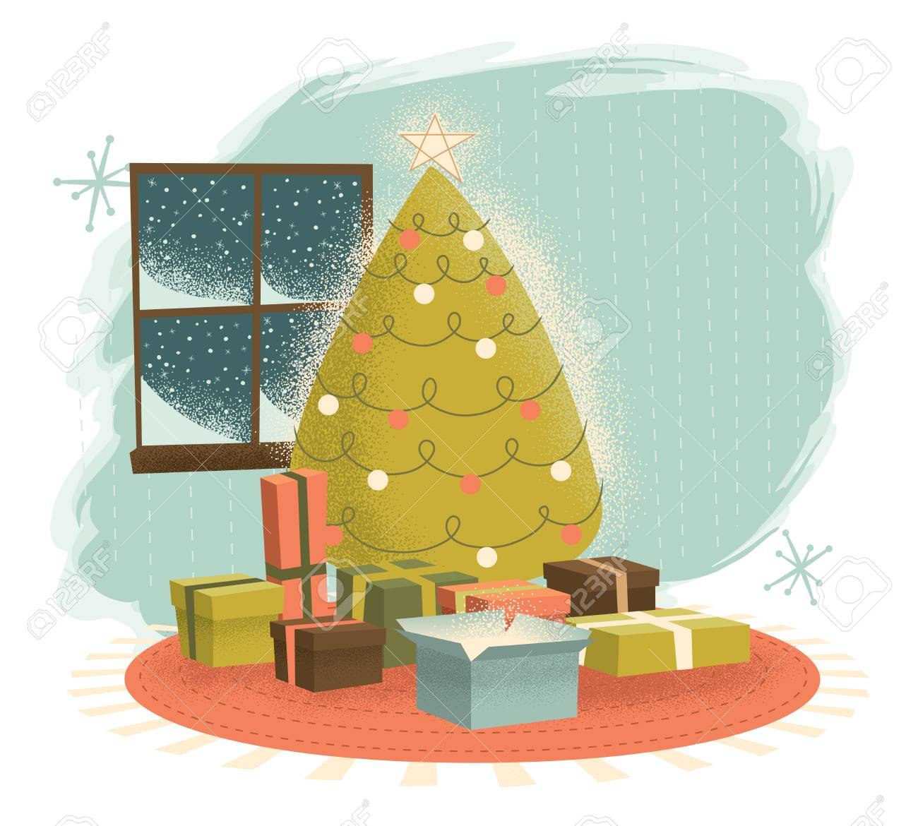 Vintage Christmas Tree With Presents Illustrated In A Retro Modern Royalty Free Cliparts Vectors And Stock Illustration Image 127395562