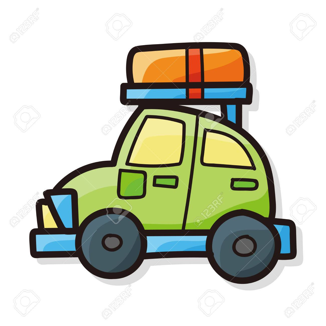 Travel Car Color Doodle Stock Vector