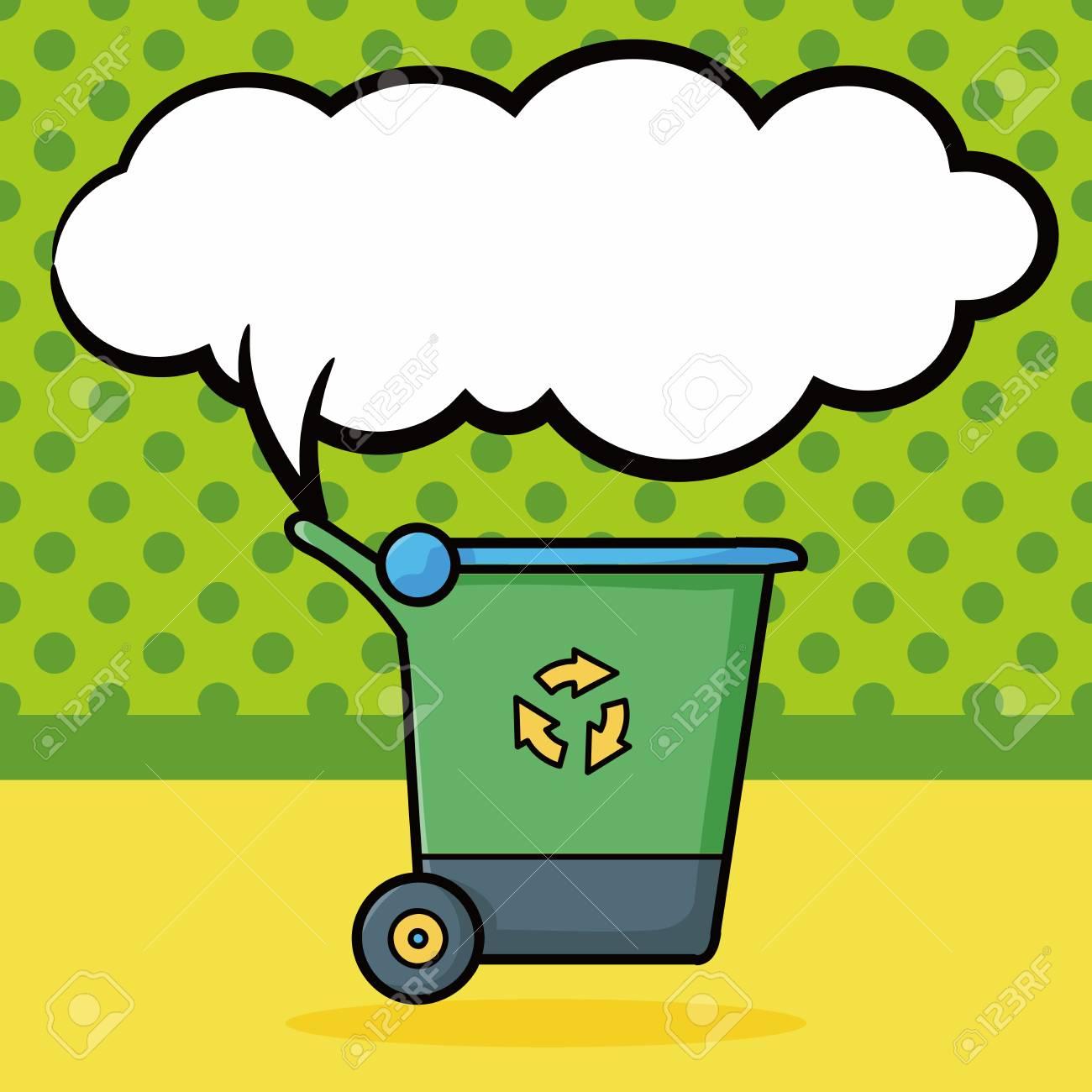 trash can doodle, speech bubble - 51780750
