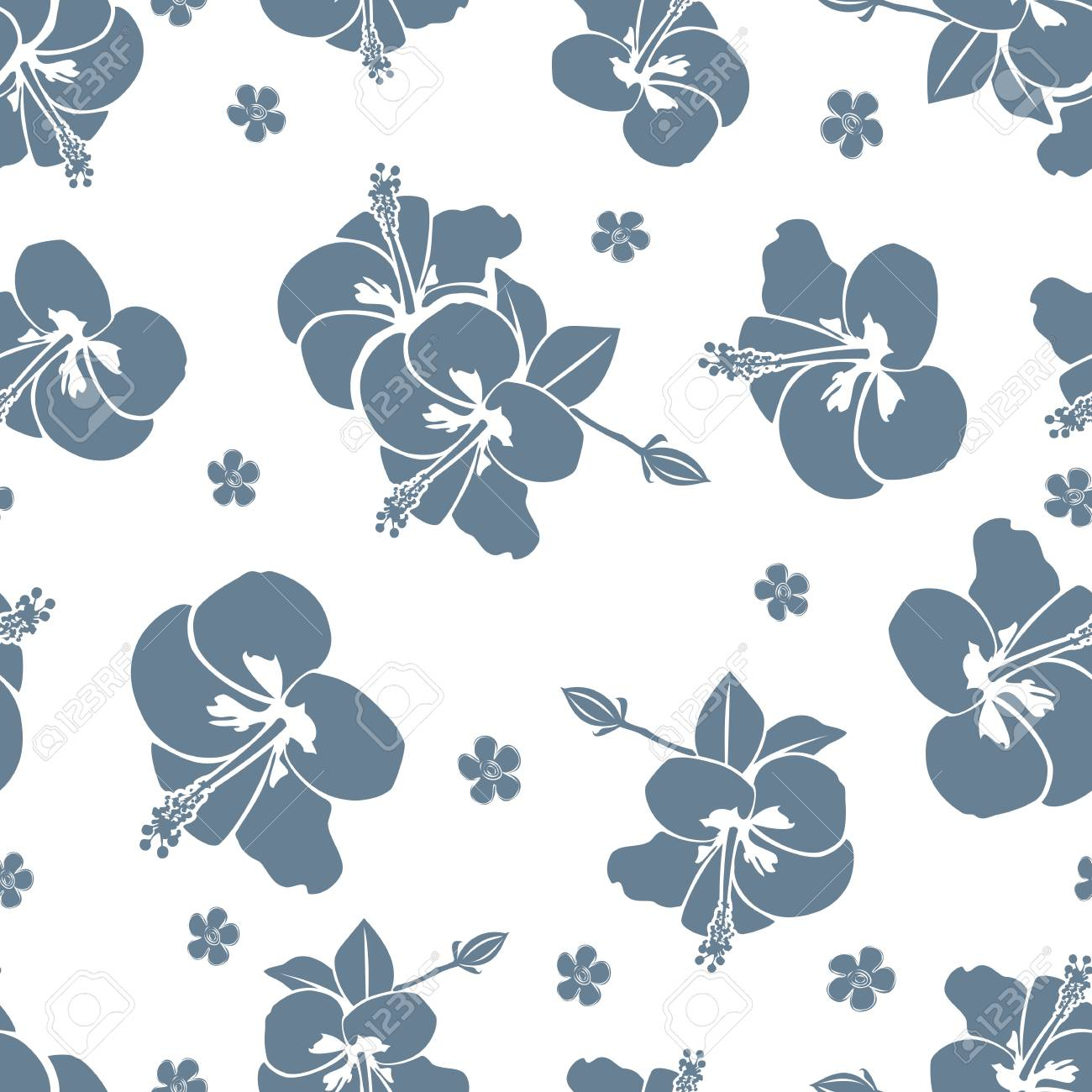 Seamless pattern of blue hibiscus flowers on white background seamless pattern of blue hibiscus flowers on white background stock vector 75830423 izmirmasajfo