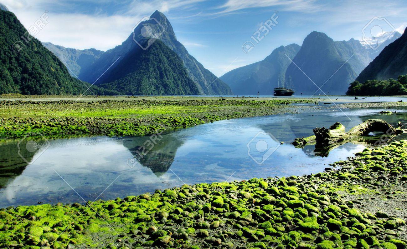 Mitre Peak, New Zealand at lowtide Stock Photo - 5931036