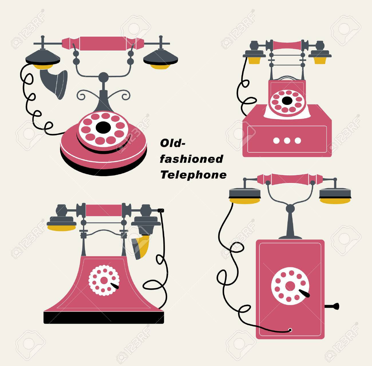 vector old-fashioned telephone sets - 4653399