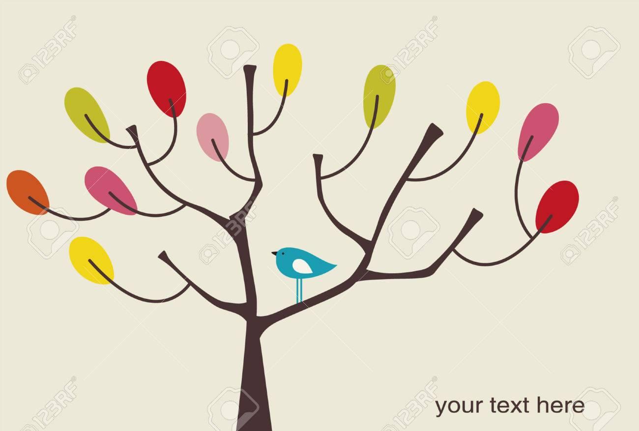 vector bird and tree Stock Vector - 4741378