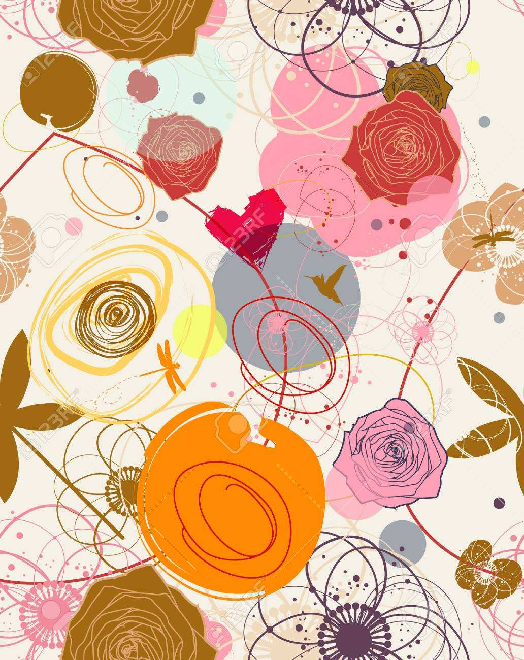 Floral seamless pattern in retro style Stock Vector - 7362057
