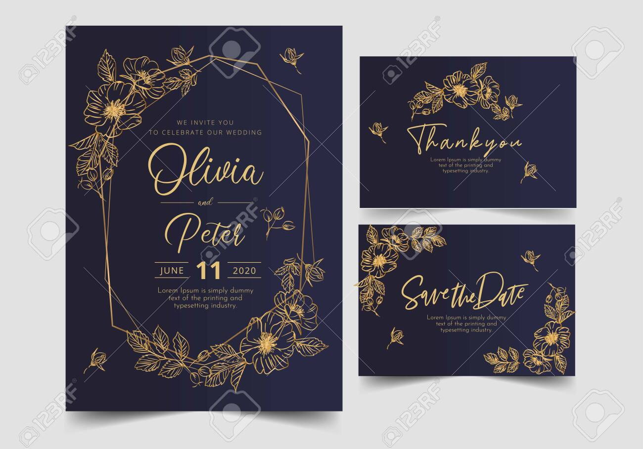 wedding invitation card template with golden flower floral background